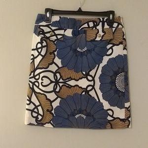Elizabeth McKay Blue Floral Printed Pencil Skirt
